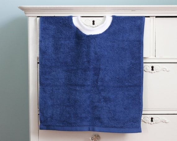 Navy Blue Craft Smock Terry Cloth Towel Bib Pullover Toddler