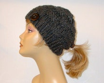 Chunky Knit Gray Ponytail Hat Beanie Pony tail Hole Women's Teens Hat Granite Grey Soft Wool Blend Alaskan Made