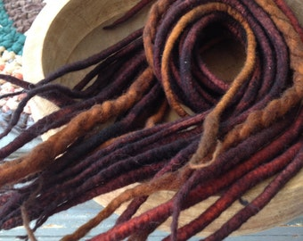 Wool Dreadlocks-Wool Dreads-Woolies-Brown Wool Dreads-Brown Wool Dreadlocks-Hair Extensions-Brown Wool Dreads-Brown Dreads