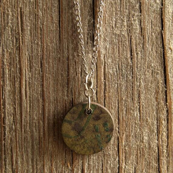 MEDIUM round vintage abstract print stoneware pendant