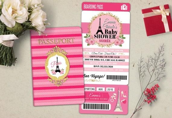 Passport and ticket baby shower invitation baby girl wedding il570xn filmwisefo