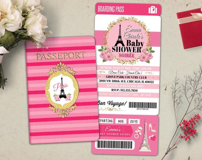 PASSPORT and TICKET baby shower invitation! Baby girl- wedding shower invitation- Paris, Eiffel tower, first birthday, bridal