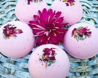 Bath Bomb, 4 ounce Herbal Bath Fizzies, Lavender and Rose Bath Fizzies, Lavender and Rose Bath Bombs, Non GMO, Herbal Bath Bomb