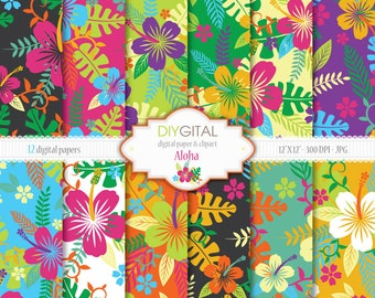 Aloha- Hawaiian Style Digital Paper Set with Hibiscus- Tropical Digital Paper- Hawaii Digital Paper- Summer Digital Paper- Colorful Flowers