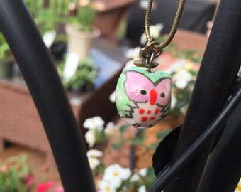 Turquoise Owl Charm Necklace