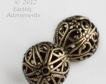 Oxidized brass round  filigree bead.  15mm.  Package of 2. b18-430(e)
