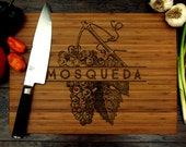 Personalized Wedding Gift, Custom Cutting Board, Grapes, Wine, Vineyard, Family Name, Kitchen Decor, Hostess Gift, Bridal Shower Gift
