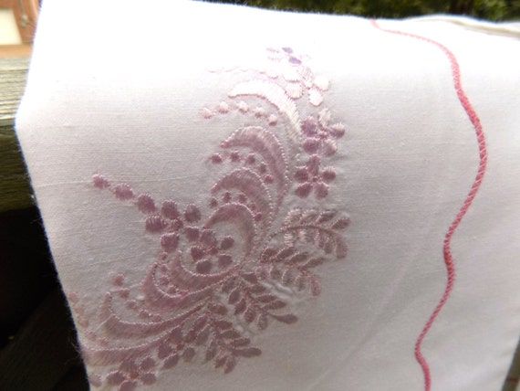 Vintage Shabby Chic Pillow Shams : Vintage Embroidered White Linen Pillow by sistersvintageattic