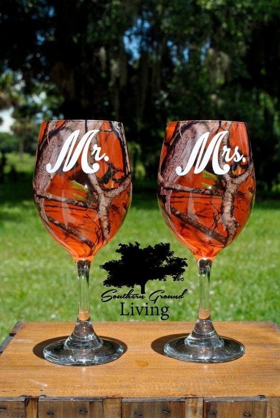 Items Similar To Mr And Mrs Orange Camo Wedding Wine Glass