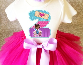 Fast Shipping - Birthday Doc McStuffins Hot Pink Lavender Blue Animal Doctor Age 2 2nd Second Shirt & Tutu Set Girl Outfit Party Dress