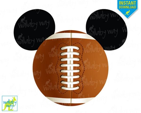 Football mickey mouse ears printable iron on transfer or use for Diy disney shirt template