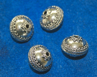 Pewter Beads Large Bali Style 4 Beads   (13 x 16 mm)