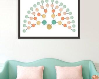 Modern Family tree Art, modern genealogy, Fan Chart Family Tree