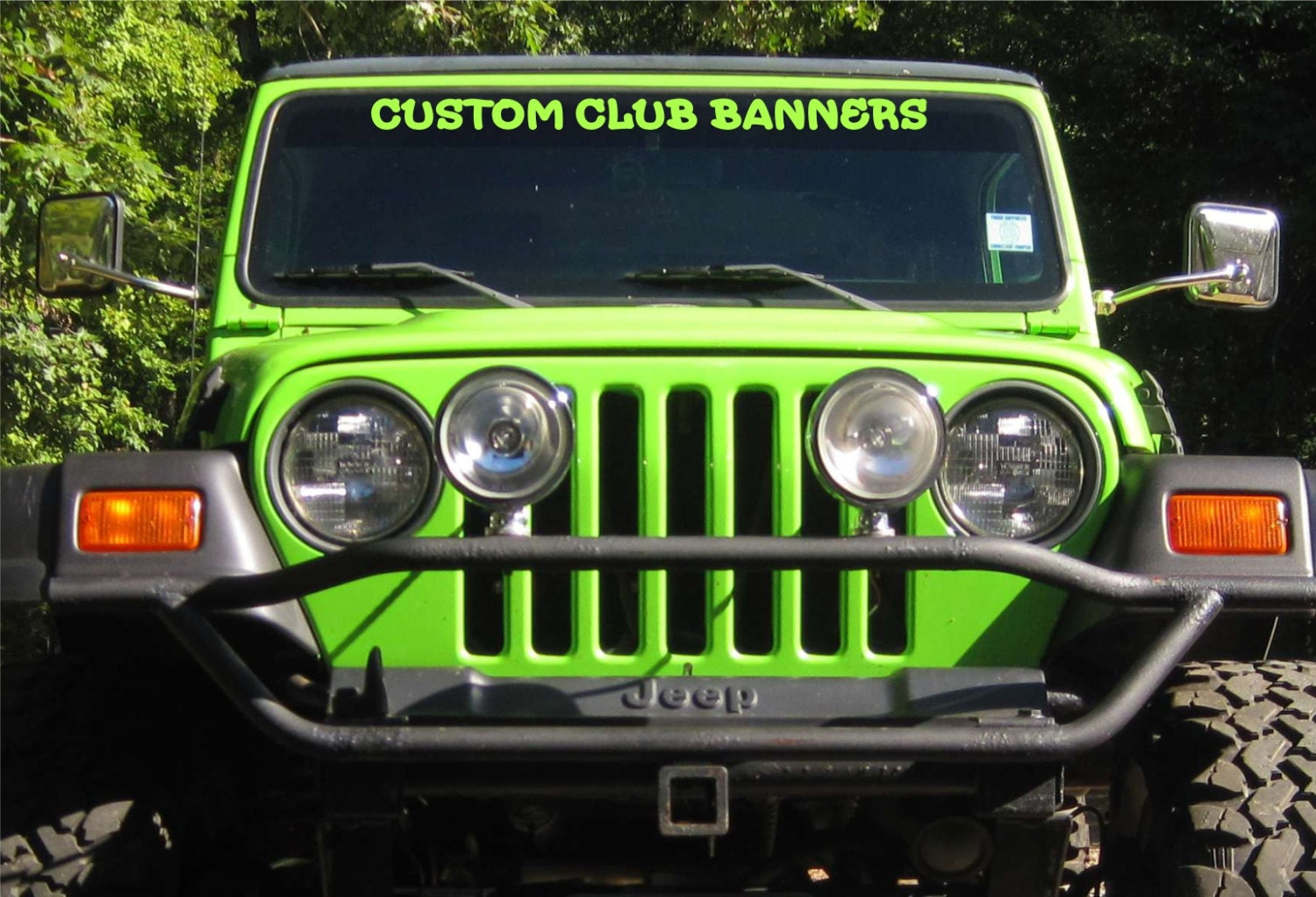 Custom made windshield decals to fit jeep windshields for club for Custom jeep lettering