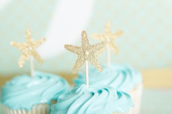 Mermaid Birthday Gold Starfish Cupcake Pics Cupcake Topper