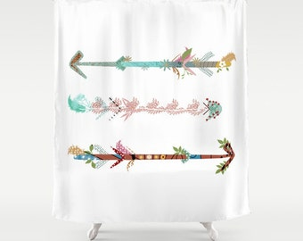 arrows shower curtain white rustic woodland adventure funny gift cute warm colors bath decor bathroom