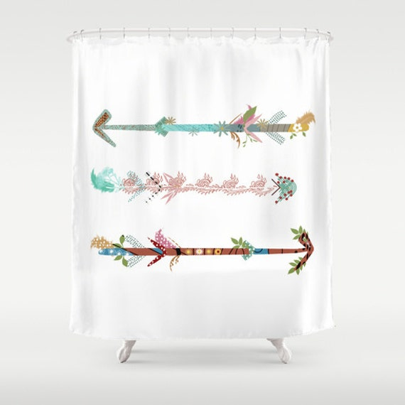 Arrows Shower Curtain White Rustic Personalized Woodland Adventure ...