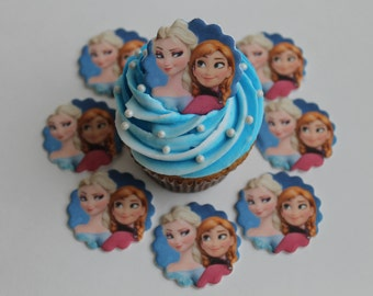 Frozen Anna and Elsa Edible Image on Fondant Cupcake Toppers, 12 pack