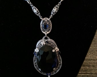 Art Deco Necklace With Blue Crystals