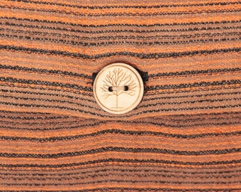 Cushion Cover Orange/Black Tree of Life Buttons