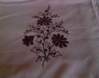 Pink Dresser or End Table Scarf with Embroidery