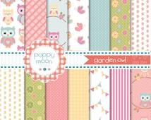 garden owl,butterflies ,bunting,flowers digital paper pack