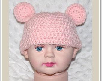 Newborn Baby Crocheted Baby Pink Teddy Beanie