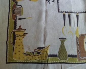 """Vintage Mid Century Modern Tablecloth ~ Kitchen Utensils/Fruits Design 48"""" x 50"""""""