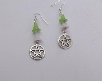 Pentagram charm with flower bead