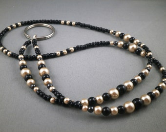 "Black and tan lanyard necklace with bead chain 26"" to 40"" beaded ID badge  leash , key card or keychain holder , eyeglasses strap , cute"