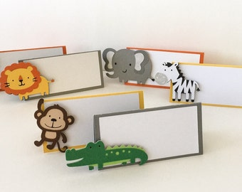 Safari Baby Shower - Safari Animals - Animal Place Cards - Jungle Tent Cards - Jungle Baby Shower - Safari Theme - Jungle Theme - Safari