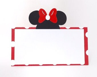 Minnie Mouse Place Cards - Disney Themed Place Cards - Set of 12 Minnie Mouse Food Tent Cards - Minnie Mouse Party - Minnie Mouse Decoration