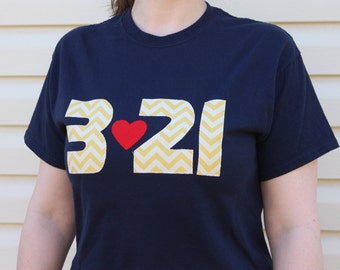 "Down Syndrome Awareness Shirts ~ Adult Sizes (Unisex), Navy Blue T-shirt with Yellow ""321"" Lettering"