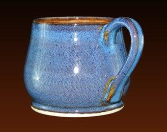 Coffee mug, unique coffee mugs, pottery mug, hand thrown, potbelly mug, 12 oz, pottery mugs with blue and brown glazes. Price for one cup
