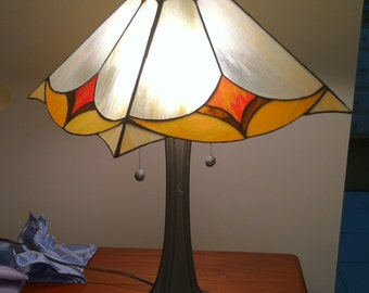 Prairie Style Table Lamp, Colorful Composite Shade, Heavy Metal Base