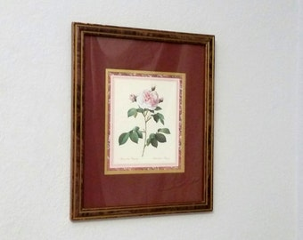 Rose Botanical Print Shabby Chic Home Decor Wall Hangings Cottage Chic Decor Framed Wall Art Floral Print Cottage Garden Gifts for Her Desk