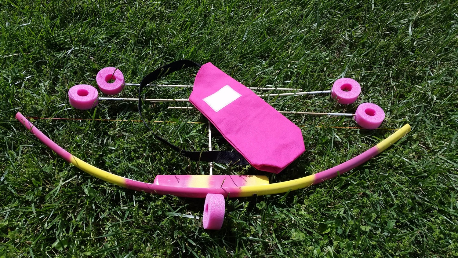 Pink yellow kids toy bow set with 5 arrows and quiver bag pvc for Kids pvc bow