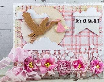 Shabby Chic Baby Girl Greeting Card