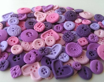 100 Edible sugar buttons decorations for cake cupcake toppers
