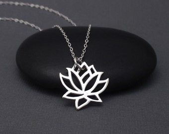 Lotus Necklace Sterling Silver, Lotus Flower Necklace, Lotus Charm, Lotus Blossom Charm Pendant With Chain