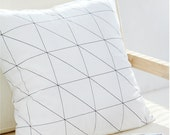 Black Line Geometric Pillow cover, Black and White Pillow Case