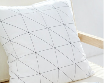 Black Line Geometric Pillow cover, Black and White Pillow