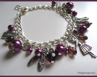 Charm bracelet with ballet charms