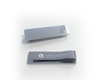 Engraved Tie Slide in Mirror Silver Finish