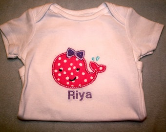 Personalized Whale Embroidered Bodysuit
