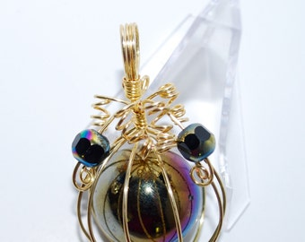 Gold Wire Wrapped, 'Lil Beauty, Glass Marble with crystal bead accents