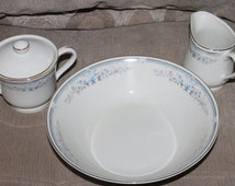 Royal Limited SeaScapes Pattern, Round Open Serving Bowl, Sugar & Creamer Set, Collection, Made in JAPAN, Gold Edging All Four Pieces