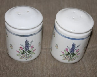 Vintage Beautiful Lupin Flower Salt and Pepper Shakers, Hand Painted and Hand Decorated, Made in Japan, Plugs For Both, Very Collectible