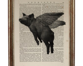 Flying pig -  illustration of pig with wings, when pigs fly Art Printed on Old Dictionary page, Art Print Vintage Book Page 8 x 10 inches
