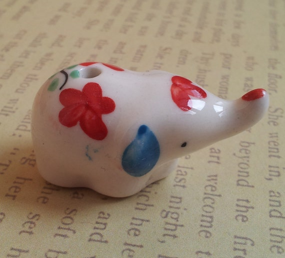 Small Elephant Decor: Vintage Small Elephant Figurine Porcelain. Small Decor